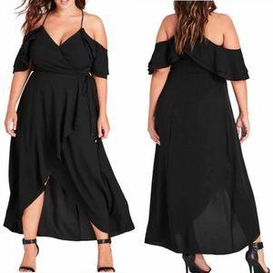 City Chic Miss Jessica Ruffled Black Maxi Dress XS